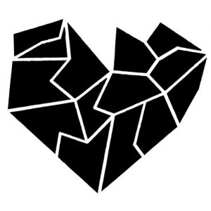 Black shattered heart